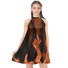 Smoke Flame Abstract Orange Red Halter Neckline Chiffon Dress