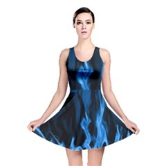 Smoke Flame Abstract Blue Reversible Skater Dress