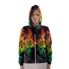 Smoke Rainbow Abstract Fractal Women s Hooded Windbreaker