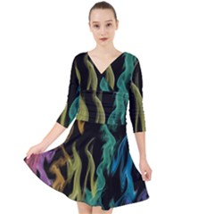 Smoke Rainbow Colors Colorful Fire Quarter Sleeve Front Wrap Dress by HermanTelo