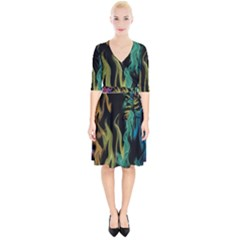 Smoke Rainbow Colors Colorful Fire Wrap Up Cocktail Dress
