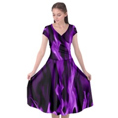 Smoke Flame Abstract Purple Cap Sleeve Wrap Front Dress by HermanTelo