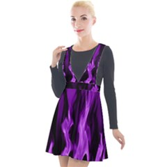 Smoke Flame Abstract Purple Plunge Pinafore Velour Dress by HermanTelo