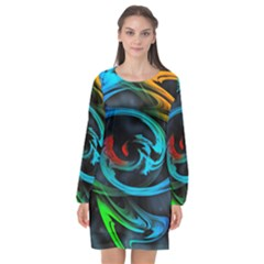 Rainbow Fractal Clouds Stars Long Sleeve Chiffon Shift Dress