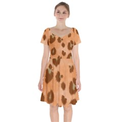 Seamless Tile Background Abstract Short Sleeve Bardot Dress