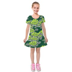 Seamless Turtle Green Kids  Short Sleeve Velvet Dress