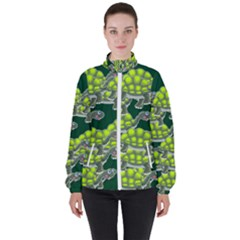 Seamless Turtle Green Women s High Neck Windbreaker by HermanTelo