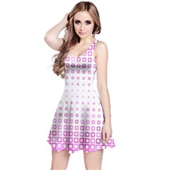 Square Pink Pattern Decoration Reversible Sleeveless Dress by HermanTelo