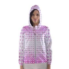 Square Pink Pattern Decoration Women s Hooded Windbreaker