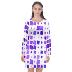 Square Purple Angular Sizes Long Sleeve Chiffon Shift Dress  by HermanTelo
