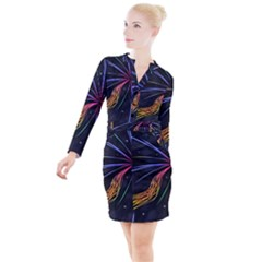 Stars Space Firework Burst Light Button Long Sleeve Dress