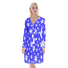 Star Background Pattern Advent Long Sleeve Velvet Front Wrap Dress by HermanTelo
