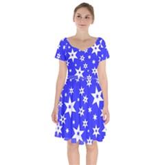 Star Background Pattern Advent Short Sleeve Bardot Dress by HermanTelo