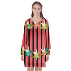 Star Christmas Greeting Long Sleeve Chiffon Shift Dress
