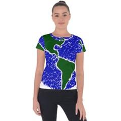 Globe Drawing Earth Ocean Short Sleeve Sports Top  by HermanTelo