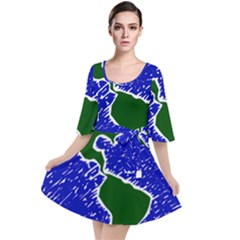 Globe Drawing Earth Ocean Velour Kimono Dress by HermanTelo