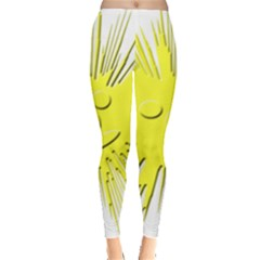Smilie Sun Emoticon Yellow Cheeky Leggings