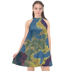 Map Geography World Halter Neckline Chiffon Dress