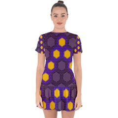 Communication Network Digital Drop Hem Mini Chiffon Dress by HermanTelo