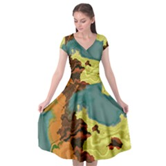 Map Geography World Yellow Cap Sleeve Wrap Front Dress