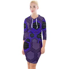 Networking Communication Technology Quarter Sleeve Hood Bodycon Dress by HermanTelo