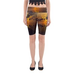 Sunset Reflection Birds Clouds Sky Yoga Cropped Leggings by HermanTelo