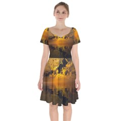 Sunset Reflection Birds Clouds Sky Short Sleeve Bardot Dress