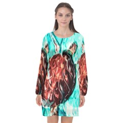Tortoise Marine Animal Shell Sea Long Sleeve Chiffon Shift Dress  by HermanTelo