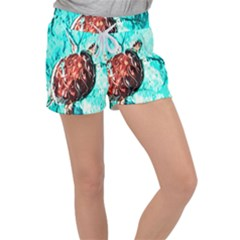 Tortoise Marine Animal Shell Sea Women s Velour Lounge Shorts by HermanTelo