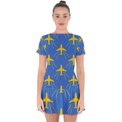 Aircraft Texture Blue Yellow Drop Hem Mini Chiffon Dress