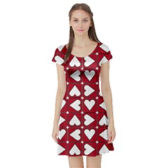 Graphic Heart Pattern Red White Short Sleeve Skater Dress