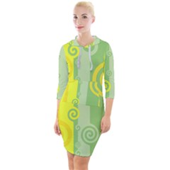 Ring Kringel Background Abstract Yellow Quarter Sleeve Hood Bodycon Dress