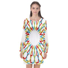 Wheel Complex Symbol Mandala Long Sleeve Chiffon Shift Dress