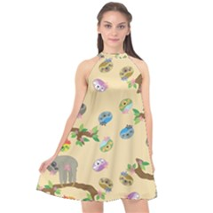 Sloth Neutral Color Cute Cartoon Halter Neckline Chiffon Dress
