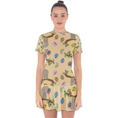 Sloth Neutral Color Cute Cartoon Drop Hem Mini Chiffon Dress by HermanTelo