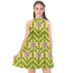 Texture Nature Erica Halter Neckline Chiffon Dress  by HermanTelo