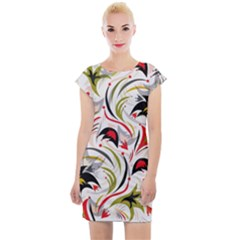 Modern Floral Pattern Cap Sleeve Bodycon Dress by tarastyle