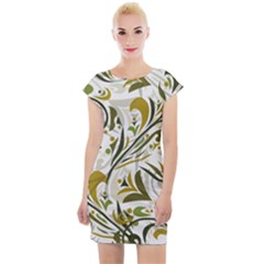 Modern Floral Pattern Cap Sleeve Bodycon Dress