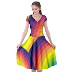 Background Rainbow Colors Colorful Cap Sleeve Wrap Front Dress by Pakrebo