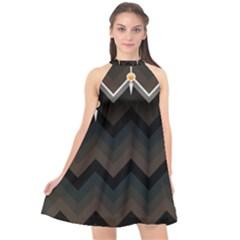 Background Pattern Non Seamless Halter Neckline Chiffon Dress