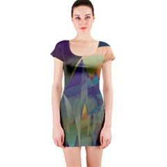 Mountains Abstract Mountain Range Short Sleeve Bodycon Dress