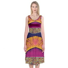 Abstract Sunrise Ocean Sunset Sky Midi Sleeveless Dress