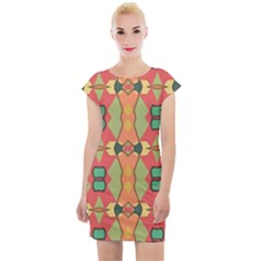 Pattern Orange Green African Cap Sleeve Bodycon Dress