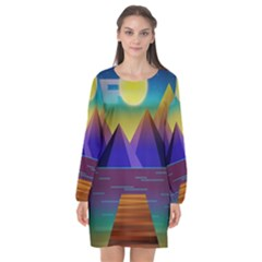 Jetty Landscape Scenery Mountains Long Sleeve Chiffon Shift Dress