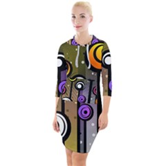 Abstract Flora Pinks Yellows Quarter Sleeve Hood Bodycon Dress