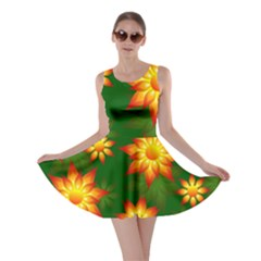 Flower Pattern Floral Non Seamless Skater Dress