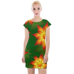 Flower Pattern Floral Non Seamless Cap Sleeve Bodycon Dress