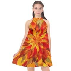 Flower Blossom Red Orange Abstract Halter Neckline Chiffon Dress  by Pakrebo