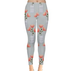 Pattern Non Seamless Floral Flowers Leggings