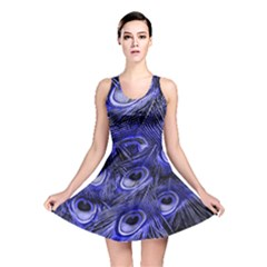 Peacock Feathers Color Plumage Reversible Skater Dress by Pakrebo